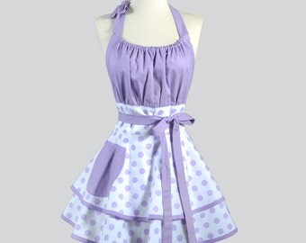 Flirty Chic Apron / Lavender Polka Dots on White Double Layered Skirt Retro Style Kitchen Apron