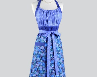 Cute Kitsch Retro Aprons - Modern Chef Cooking Apron in Vintage Style Blue Purple Floral and Polka Dots Baking Apron or Gift Apron
