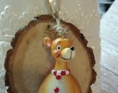 Reindeer Tree Slice Christmas Ornament / Wood Tree Slice / Package Wrap Tag / Woodland Rustic Christmas Decoration  / Ready to Ship (ref-ts)