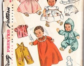 Vintage 1950 Simplicity 3406 Craft Sewing Pattern Baby Doll Wardrobe Size 24ins