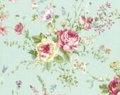 Rococo Sweet 2016  Roses on Aqua Cotton Fabric Lecien 31360-60