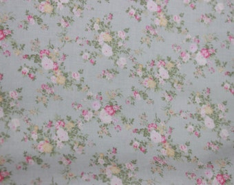 Yuwa French Tiny Roses  on Light Blue-Greem  Cotton Fabric 826226D