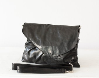 Black leather purse, clutch envelope clutch crossbody bag handbag crossover purse large clutch bag - Erato clutch