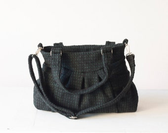 Cross body bag in wool black and green,  everyday bag messenger over shoulder convertible purse - Elessa bag