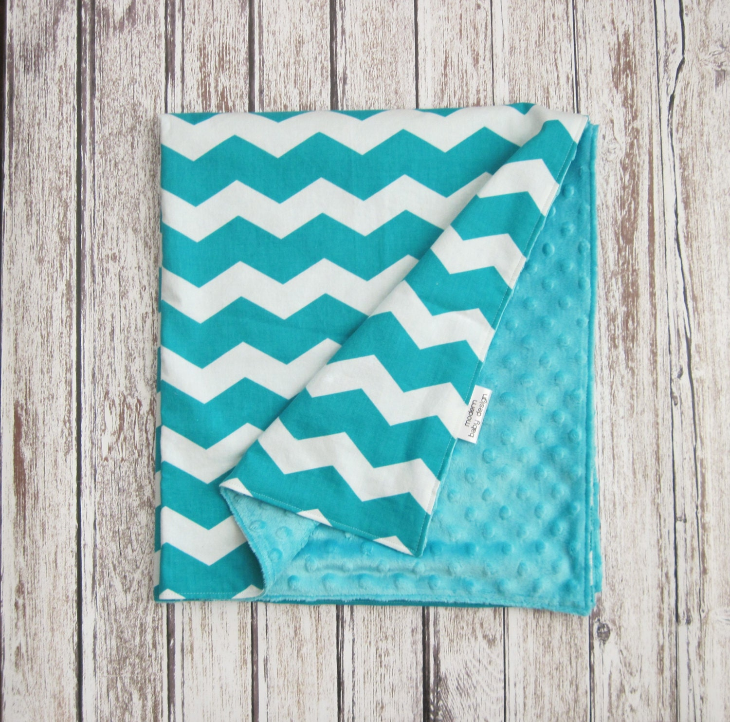 Sale Teal Chevron Baby Blanket Teal And White Minky Baby