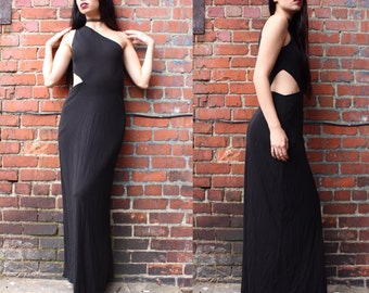 Vintage Black Calvin Klein Side Cut Maxi Dress