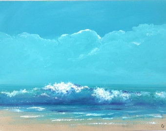 Beach painting with large wave, ocean wave painting 18x24 inch turquoise and blue seascape art