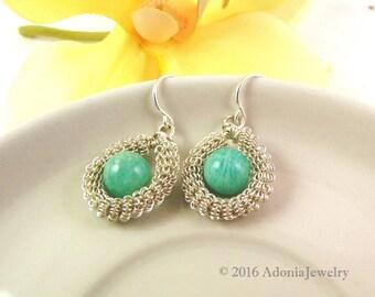 Amazonite Earrings - Russian Amazonite Earrings - Adonia Jewelry