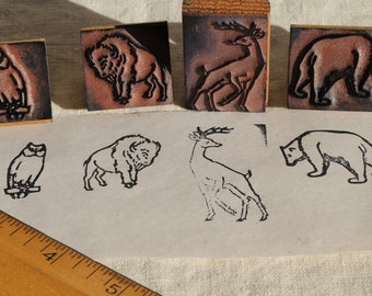 vintage animal rubber stamps, woodland owl, stag, buffalo, bear, school stamps