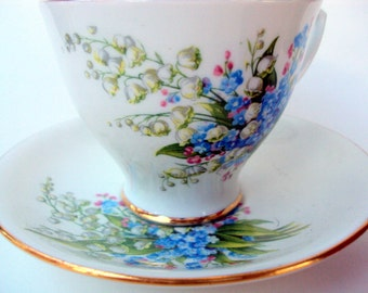Vintage Bone China Cup and Saucer, Clarence England, Staffordshire Potteries, Crown Windsor, 1940s, Dining Serving, Tea/Coffee, Collectible