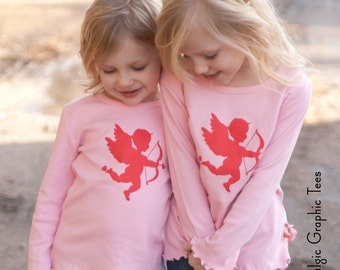 Catching Cupid Long Sleeved Lettuce Tee in Pink/Rose by Nostalgic Graphic Tees