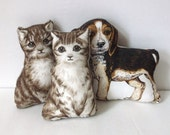 Vintage Handmade Stuffed Dog and Cats Toys..Screen PrintedToy Animals..Toddler Sized Stuffed Toys