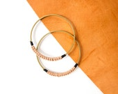 Leather and Brass bangle - black or natural - Amiga