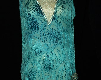 1920's Turquoise Silk Devore Velvet Dress with Silver Lame Embellished with rhinestones Aquamarine Broach Flapper Art Deco