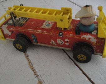 Vintage Fisher Fire Engine Truck Wood