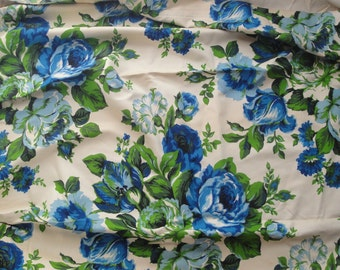Vintage Pinch Pleated Curtains Roses Blue 2 Panels