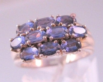 15% OFF SALE 2.5ct Iolite Cluster Sterling Silver Ring Size 9 Vintage Jewelry Jewellery