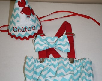 crab first birthday outfit boy, cake smash outfit, aqua blue with red crab, 1st birthday hat, suspenders, diaper cover, bow tie