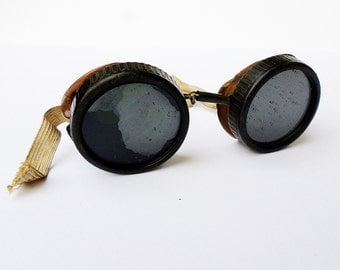 Vintage Steampunk Goggles, Willson Goggles, Aviator Goggles, Safety Goggles, Steampunk Supplies, Hipster Glasses, Tinted Goggles