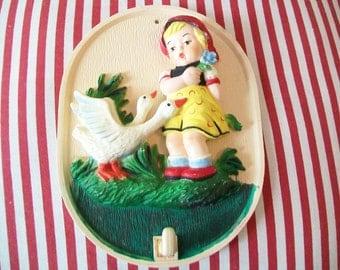 SALE - Girl with Ducks, Wall Art, Decor, 1970s, 1960s, key holder