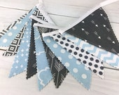 Bunting Banner, Boy Nursery Decor, Birthday Decoration, Photography Prop - Light Blue,Gray,Aztec,Tribal Nursery,Arrow,Woodland,Baby Blue
