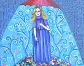 Original Acrylic Painting by Vakadi Rainy Day- Original Art Pattern Painting Home Decor OOAK