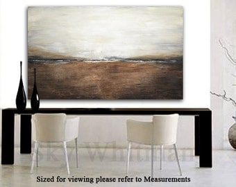 XX LARGE Original Landscape Painting Modern 5 Foot Brown Taupe Abstract Art Oil Painting 36 x 60 Seascape wall decor Free Shipping