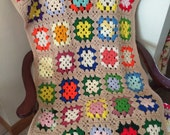 Vintage 1970s Multi Color Vibrant Hand Crochet Granny Square Afghan Blanket Throw