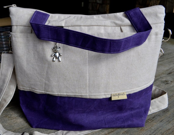 diaper bags by darby mack linen waxed canvas purple by darbymack. Black Bedroom Furniture Sets. Home Design Ideas