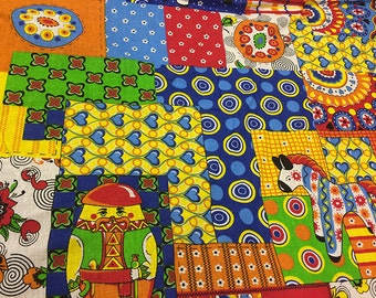 MATRRYOSHKA bohemian retro fabric by the yard Russian textile hippie clothes boho fabric gypsy cotton fabric with toys slavic design
