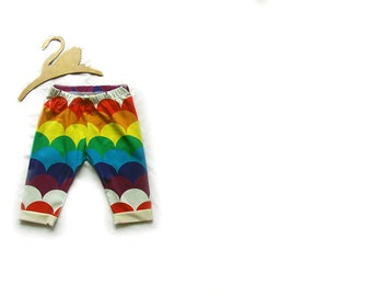 Baby skinny style shorts, baby clothes, rainbow scallop shorts