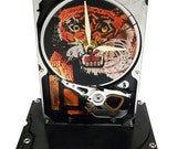 "FREE SHIPPING! Hard Drive Clock with Computer Parts ""Tiger"" Dial. Max Geeky!"