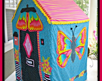 Girls Playhouse Butterfly Design in Cheerful Bright Turquoise and Pink Stripe with Mailbox, Doorbell, Butterfly Wing Awning - Indoor Outdoor
