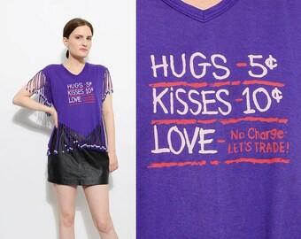 Vintage 80s Purple Fringe Beaded T-shirt HUGS + KISSES Love Cropped Graphic Tee Shirt Top S M