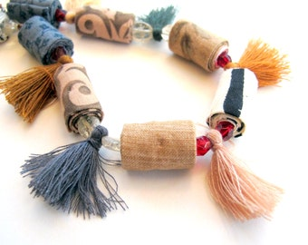 Limited edition tassel fiber necklace, fall shades tassel fiber jewelry, unique tassel fabric necklace