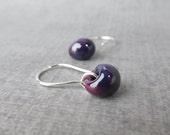 Small Aubergine Earrings, Purple Dangle Earrings, Lampwork Earrings, Dark Purple Earrings, Small Wire Earrings, Sterling Silver Earrings