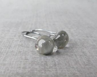 Storm Gray Dangles, Small Gray Earrings, Grey Lampwork Earrings, Oxidized Wire Earrings, Neutral Earrings, Small Sterling Silver Earrings