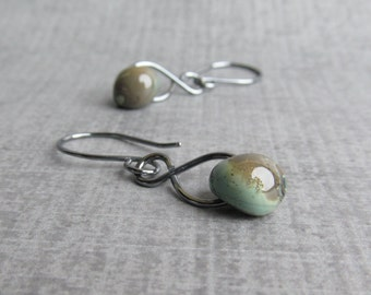 Earthy Earrings, Brown Blue Green Lampwork Earrings, Infinity Dangle Earrings, Glass Drop Earrings, Oxidized Sterling Silver Wire Earrings