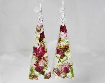 Wine and Roses,  Real Flower Earrings, Pressed Flower Earrings, Resin (1926)