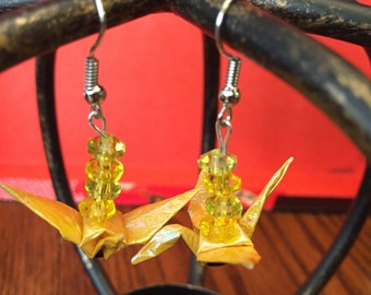 Shiney yellow origami paper earrings