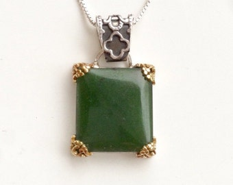Rectangular jade pendant sterling silver with 14K gold filigree prongs. Moss green nephrite jade necklace, sterling silver chain included.
