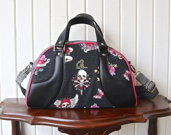 Bowler Handbag with Cross Body Strap  in Rockabilly Style with black faux leather