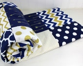 Baby Blanket, Nursery Decor, Unisex Nursery, Minky Blanket, Gold Nursery, Woodland Nursery, Crib Blanket, Navy Blue, Gold, Arrows, Tribal