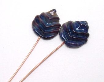Lampwork glass head pins  -  Autumn Leaves  -  2 leaf headpins, brown, blue, magenta, autumn leaves, fall leaves, leaf headpin pair