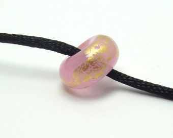 Lampwork big hole glass bead, pink big hole bead, rose quartz lampwork, gold leaf lampwork bead, lampwork bhb