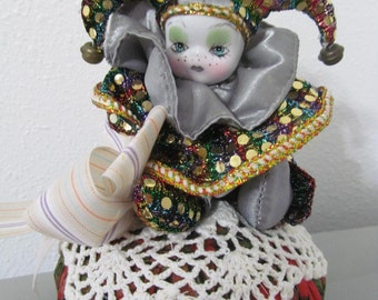 Pincushion~HANDMADE  Sequin Jester by Marianne of Maui
