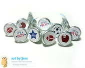 Sports All Stars Football, Baseball, Soccer Baby Shower Kiss Stickers, Candy Favors, DIY Baby Shower Favor bs-019