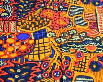 "Vintage Katsuji Wakisaka ""Eve"" Marimekko 1970s Cotton Floral Fabric - 1972  Suomi - Finland"