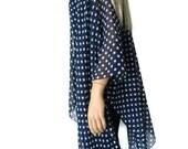 Kimono cardigan - Navy blue and white polka dot chiffon Kimono-Gift idea-Layering piece-Many colors