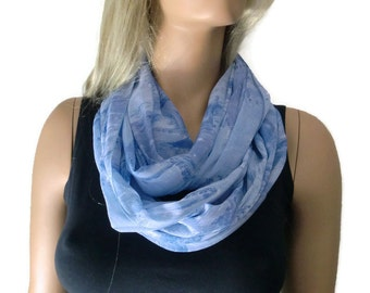 Chiffon infinity scarf,Lake blue/Purplish blue chiffon cowl-Extra full- Instant gratification